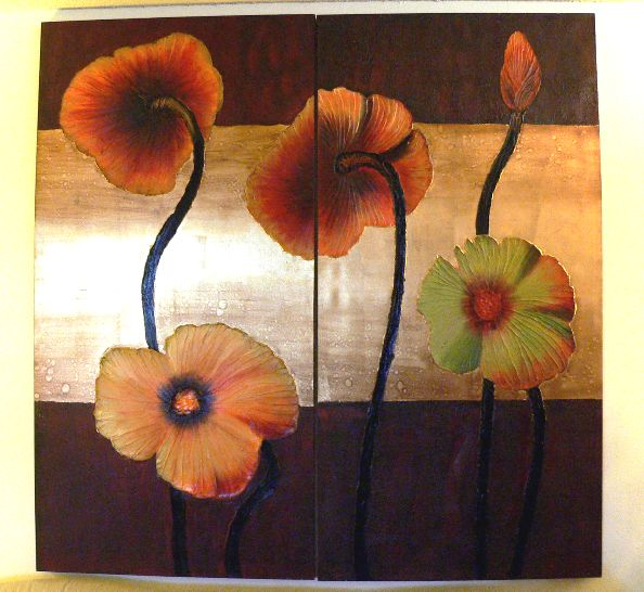 """Poppies"" - 2 painting set"