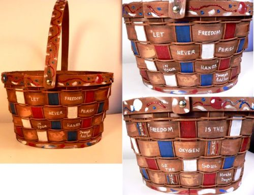 FREEDOM HAND PAINTED BASKET BY LINDA LEWIS