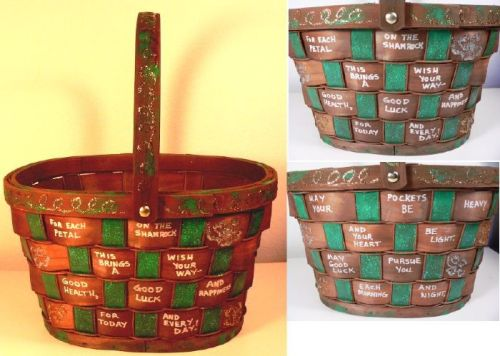 ST. PATRICK'S DAY HAND PAINTED BASKET BY LINDA LEWIS