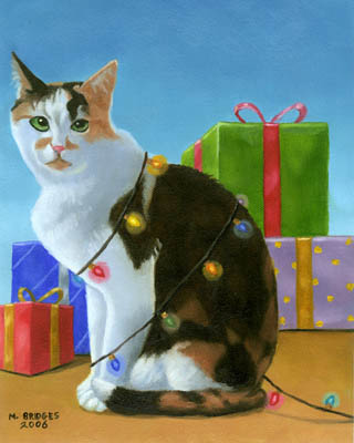 """Catmas-Tree"" Original Oil Painting by Michael Bridges"