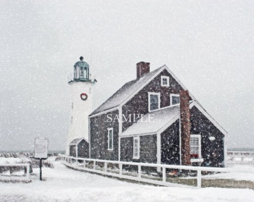"""December at Scituate Light"" Pixel Painting (Photo) by Joe Parskey"