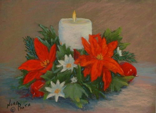 """Christmas Candle"" Pastel Painting by Nora Ruth"