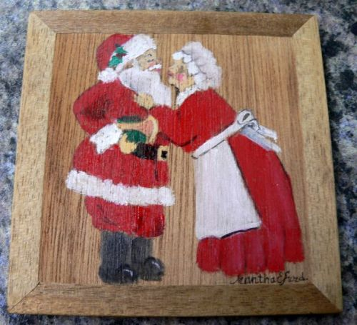 """Mr. and Mrs. Santa"" mini painting by Martha Dollar Efurd"
