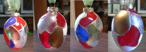 "OOAK - ""Stained Glass"" Ornaments - Set of 4 by Linda Lewis"
