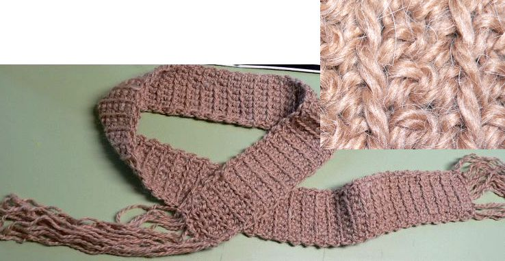 """Wheat"" Hand-Crocheted Fun Scarf by Linda Lewis"