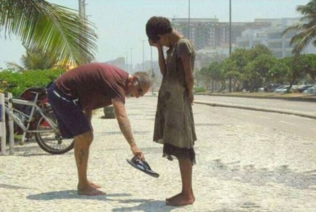 This man gave the shoes off his feet to a homeless girl