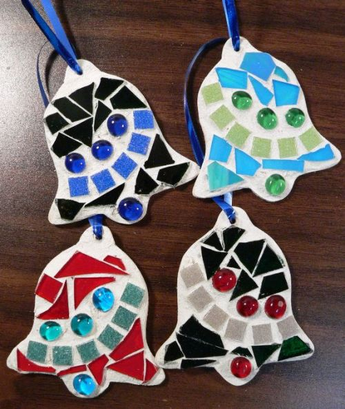 """Mosaic Christmas Bell Ornament"" by Linda Lewis"