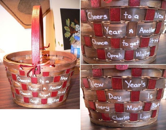 Happy New Year Hand Painted Basket by Linda Lewis