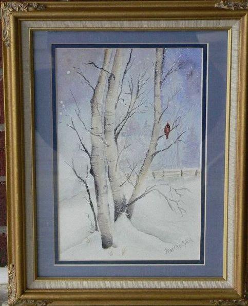 """Winter-Cardinal""-Original-Watercolor-Painting by Martha Dollar Efurd"