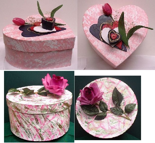 """Heart"" and ""Rose"" Memory Boxes by Linda Lewis"