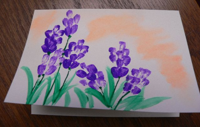 """Purple Flowers and Pastel"" Hand Painted Greeting Card by Linda Lewis"