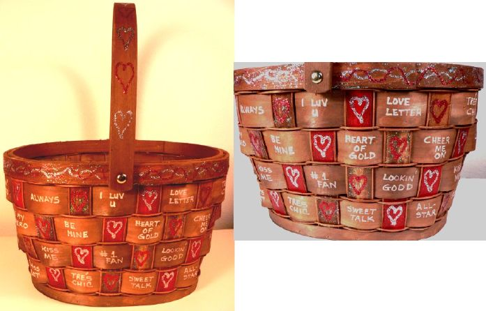 """Valentine-Candy""-Hand-Painted Basket by Linda Lewis"