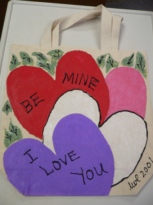 """Be Mine"" Hand-Painted Tote by Linda Lewis"