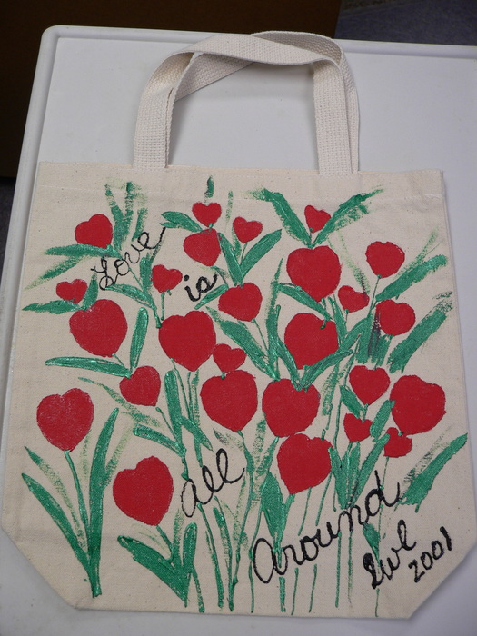 """Love is All Around,"" Hand-Painted Tote Bag by Linda Lewis"