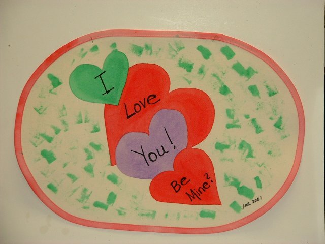 """Valentine's Day"" Hand-Painted Placemats by Linda Lewis"